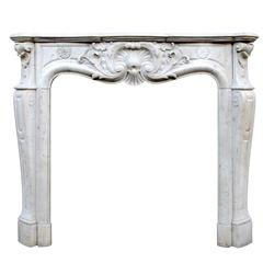 French Carrara Marble Louis XV Style Fireplace