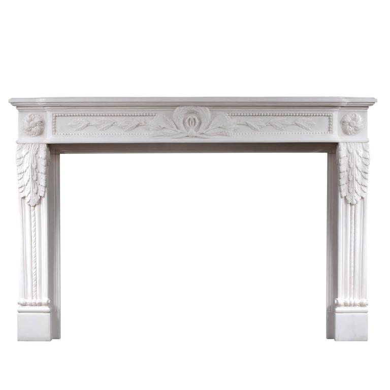 Carved French Louis XVI Style White Marble Fireplace