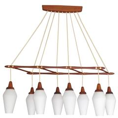 Large MidCentury Danish Modern  8 Lights Pendant Chandelier, Teak Glass Copper