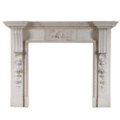 Mid-Georgian Style Fireplace in White Marble