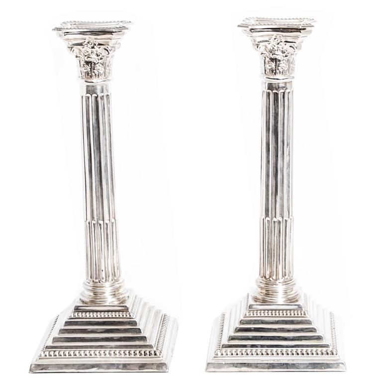 Antique Pair of Silver Candlesticks Birmingham 8e8b9db32c