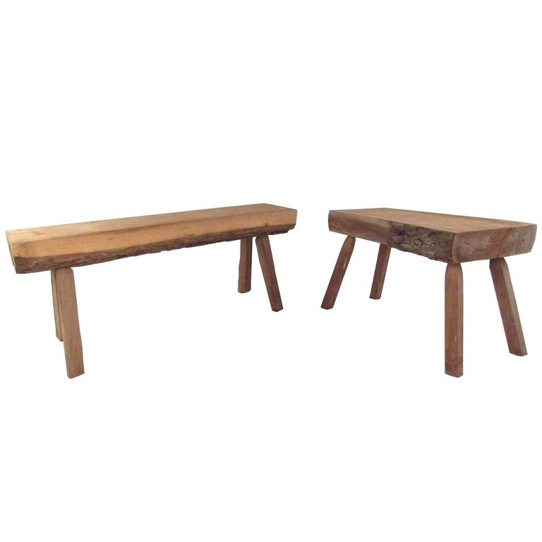 Rustic Slab Wood Coffee Table Bench: Pair Of Rustic Live Edge Tree Slab Benches At 1stdibs