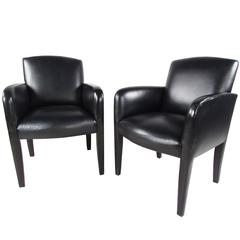 Pair of Vintage Leather Side Chairs by Donghia