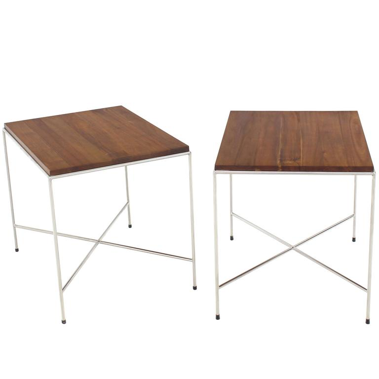 Pair of X-Base Chrome Side or End Tables with Solid Oiled Tops