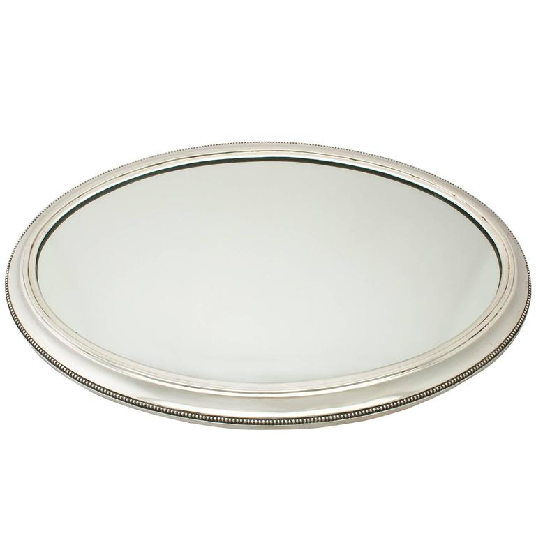 1900s Antique German Silver Mirrored Plateau