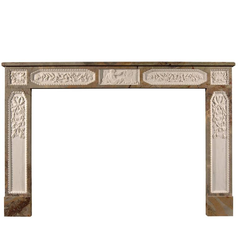 Sarrancolin French Louis XVI Style Marble Fireplace