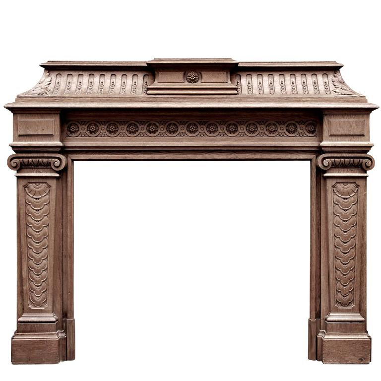 19th Century Antique French Oak Fireplace