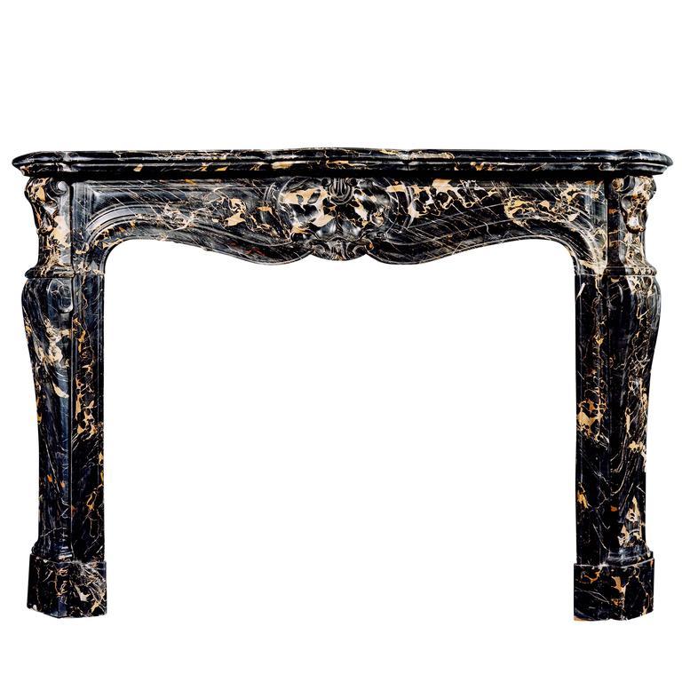 19th Century French Louis XV Style Portoro Marble Fireplace
