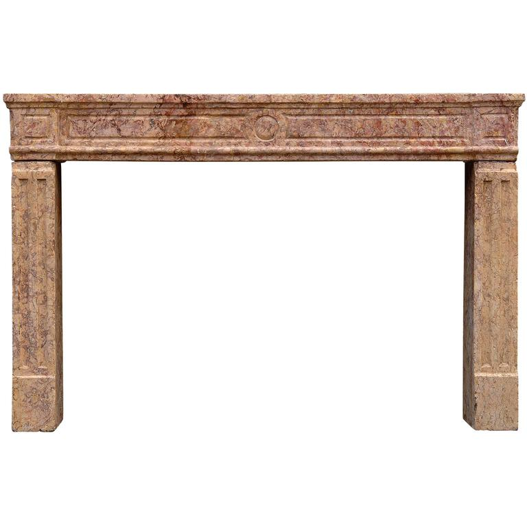 18th Century French Louis XVI Brocatelle Marble Fireplace For Sale
