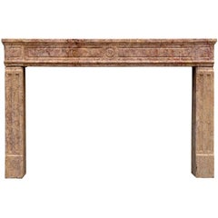 18th Century French Louis XVI Brocatelle Marble Fireplace