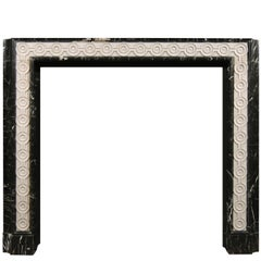 English Nero Marquina Marble Fireplace with Inlaid Statuary