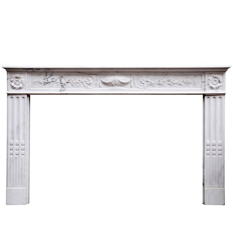 Period 18th Century French Louis XVI Statuary Marble Fireplace