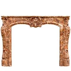 Unusual French Transitional Style Breche d'Alep Marble Fireplace