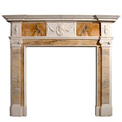 English George III Style Statuary and Inlaid Sienna Fireplace