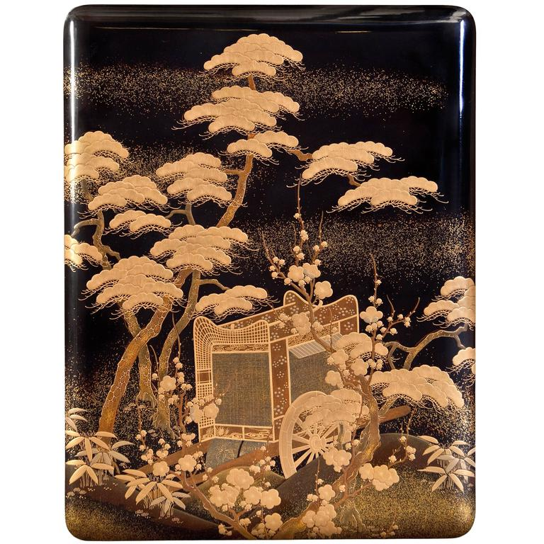 Meiji Period Japanese Gold and Black Lacquered Box
