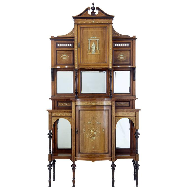 Stunning Edwardian Inlaid Rosewood Dresser Cabinet