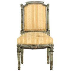 French Napoleon III Teal Painted Antique Side Chair, circa 1870, Louis XVI Taste