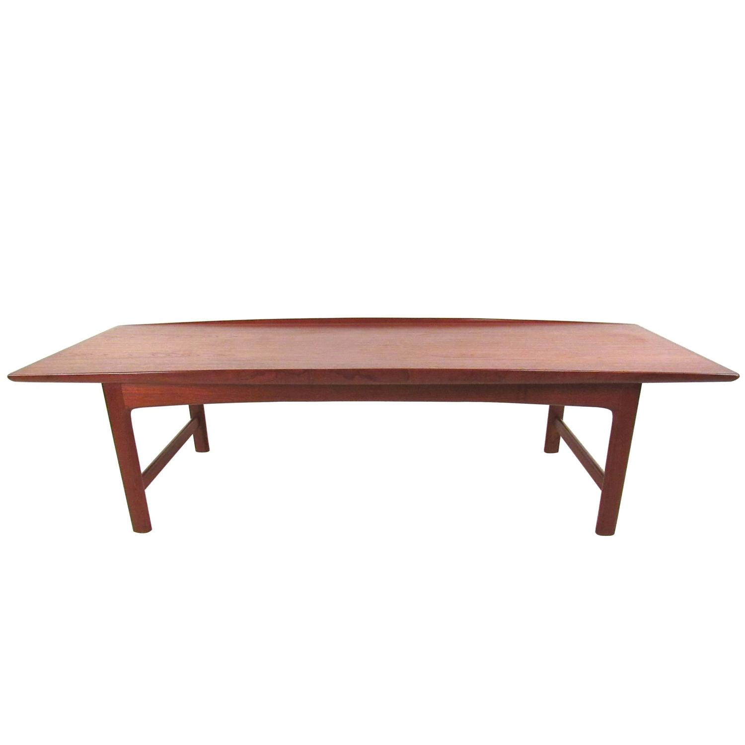 Mid Century Danish Modern Teak Coffee Table by DUX at 1stdibs