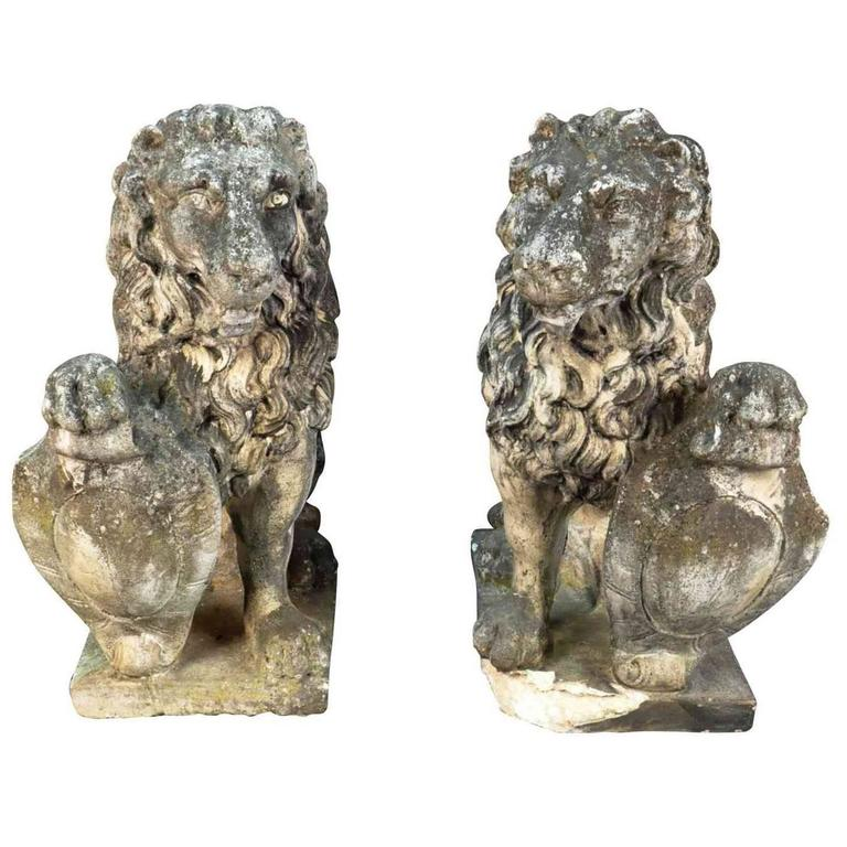 Pair of 19th Century French Stone Lions