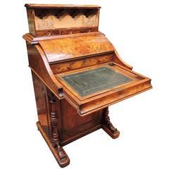 English Victorian Harlequin Davenport Desk Burled Walnut, circa 1860