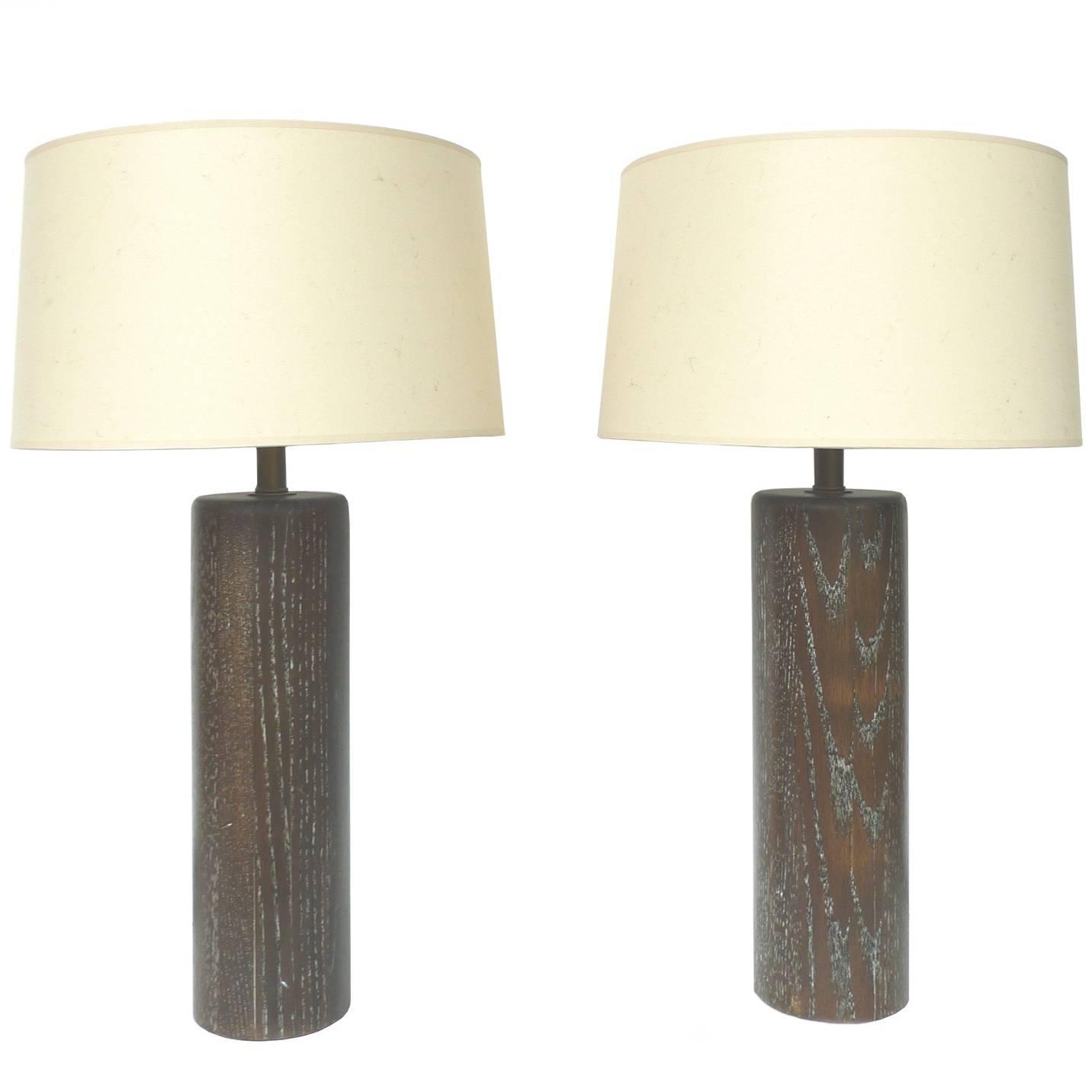 Pair of brown cerused oak table lamps by nessen studios at 1stdibs geotapseo Images