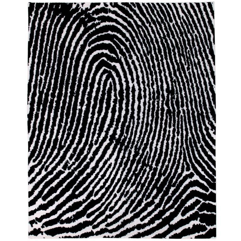 Graphic Modern 'Thumbprint' Silk Rug