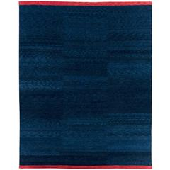 Natural Indigo Ombre Wool Rug