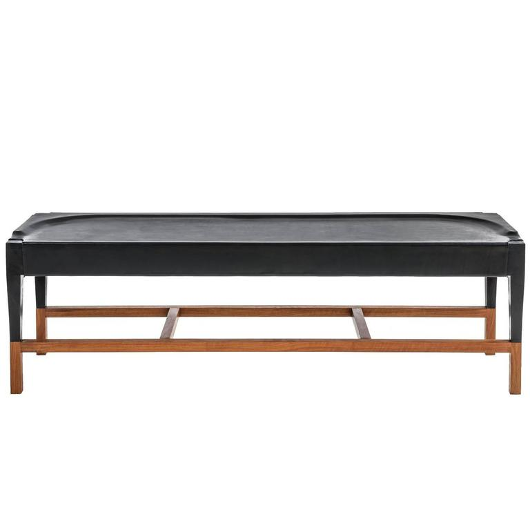 Cassius Bench in Molded Black Leather and Walnut Base For Sale