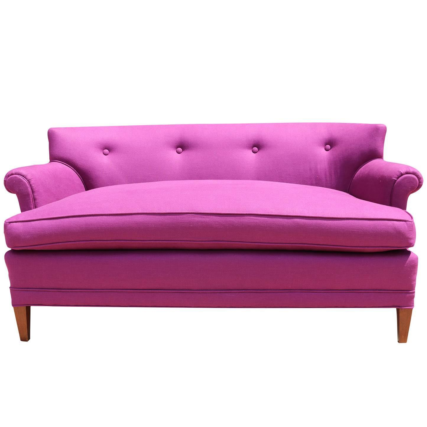 1960s Raspberry Pink Linen Settee Loveseat With Curved Arms At 1stdibs