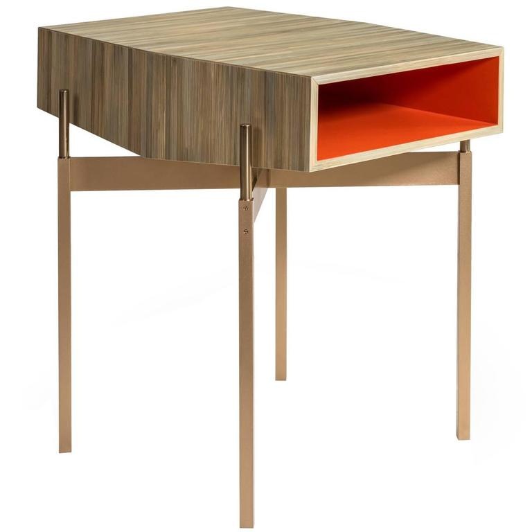 Holyfield Side or End Table with Bronze Base and Straw Marquetry Top
