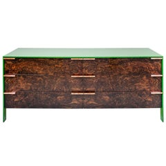 Johansson Dresser with Lacquered Aluminum Body and Walnut Burl and Copper Pulls