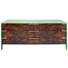Johansson Dresser with Laquered Aluminum Body and Walnut Burl and Copper Pulls