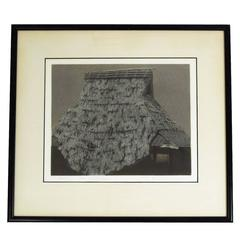 """Straw Thatching"" 1971 Aquatint Etching by Tanaka Ryohei"
