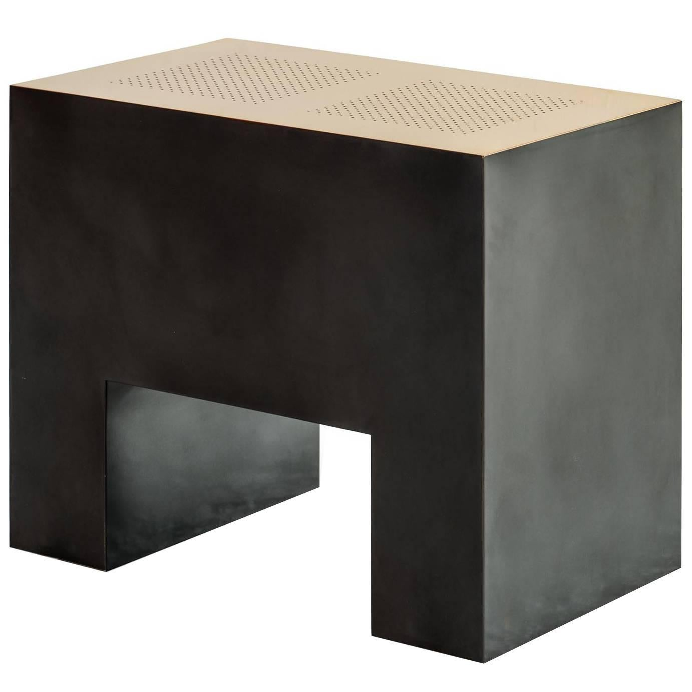 Klaus End Table, Folded Bronze with Perforated Top and Patinated Sides