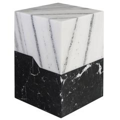 Terrell Side Table with Solid Statuary Marble Top and Nero Marquina Base