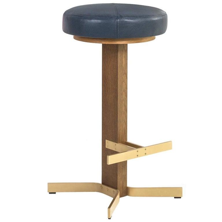 Walcott Barstool, White Oak and Solid Brass Base, Blue Leather Seat 1