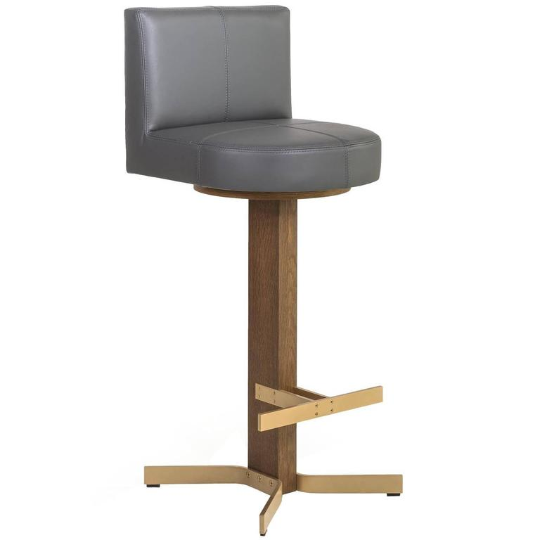 Walcott Barstool with Back, Oak and Brass Base with Grey Leather Seat