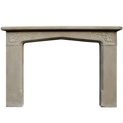 20th Century Limestone English Fireplace in the Tudor Manner