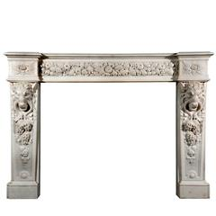 English Mid-Victorian Statuary White Marble Chimneypiece or Fireplace