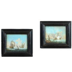 18th Century Pair of Maritime Gouaches