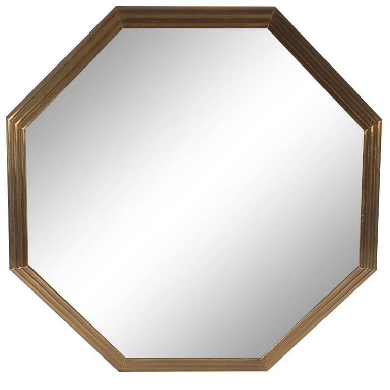 Large Mid-Century Modern Art Deco Octagonal Brass Wall Mirror For Sale