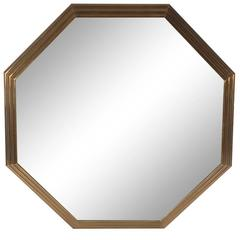 Large Mid-Century Modern Art Deco Octagonal Brass Wall Mirror