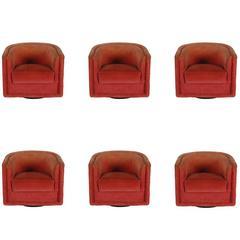 Lot of Mid-Century Modern Barrel Back Swivel Lounge Chairs after Milo Baughman