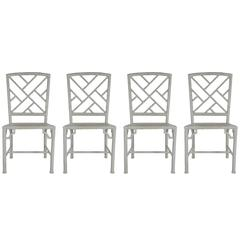 Set of Four Metal Indoor or Patio Faux Bamboo Chinoiserie Chippendale Chairs