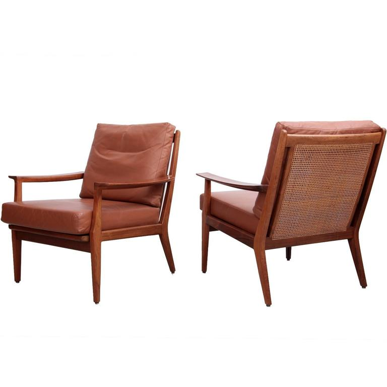 Pair of Danish Rosewood Lounge Chairs in Leather and Cane