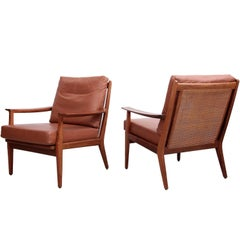 Pair of Danish Wood Lounge Chairs in Leather and Cane