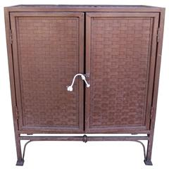 20th Century Two-Door Woven Iron Cabinet