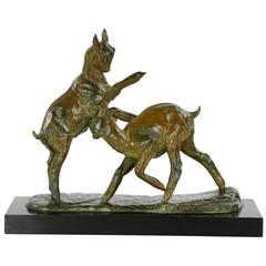 Art Deco Bronze Sculpture of Goats by Irénée Rochard, French