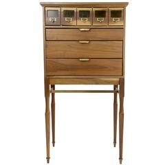 Shimna Osage Library Index File Cabinet, Walnut, Brass Hardware & Stained Glass