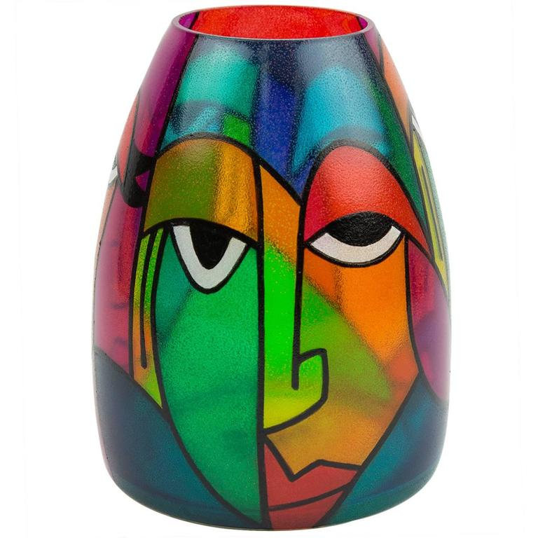 Exceptional Signed Picasso Style Abstract Art Glass Bullet Murano
